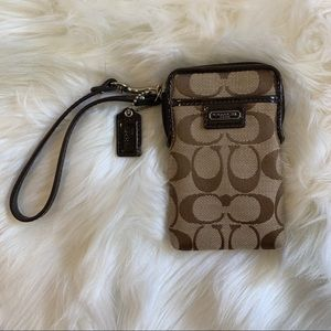 New! Coach Brown Logo Wristlett Phone Card Holder